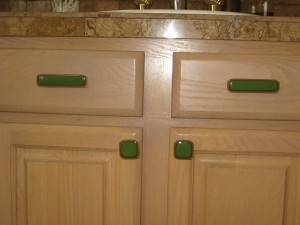green knobs and pulls